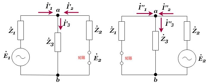 重ね合わせの理を用いた交流回路の分離回路