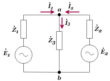 重ね合わせの理を用いた交流回路の解析の例題