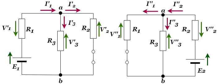重ね合わせの理:電圧降下