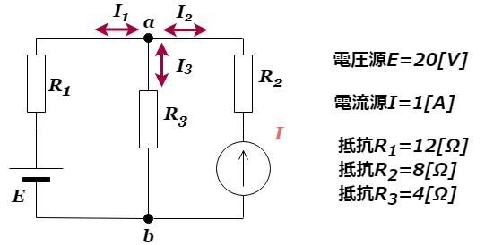 重ね合わせの理:電流源と電圧源が混在する回路の例題