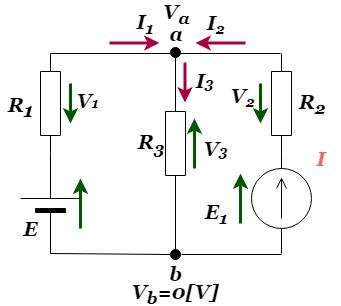 重ね合わせの理:電流源と電圧源が混在する回路端子電圧を求める