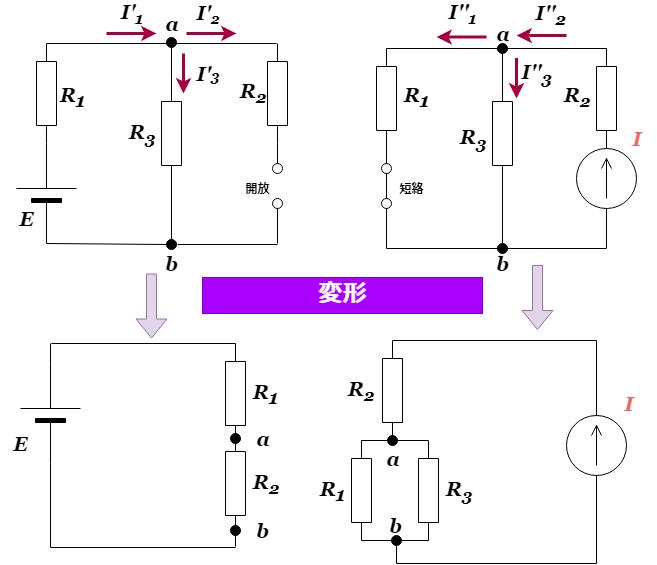 重ね合わせの理:電流源と電圧源が混在する回路の変形